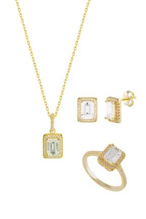 Afrodit Silver Baget Taşlı Sarı Gümüş Takı Seti