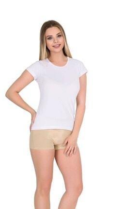 Berrak Kadın Bisiklet Yaka Body Beyaz Kısa Kol T-shirt | 3 Lü Paket