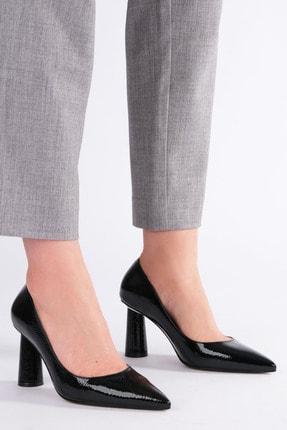 Marjin Kadın Siyah Rugan Stiletto Topuklu Ayakkabı Odela