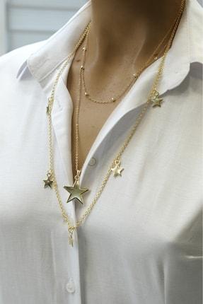 Marjin Kadın Yıldız Figürlü Üç Zincirli Kombin Altın Renkli Kolyealtın