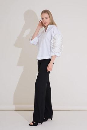 Gizia Işleme Ve Fırfır Detaylı Beyaz Poplin Bluz