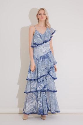 Gizia Şerit Detaylı Fırfırlı Uzun Mavi Şifon Elbise