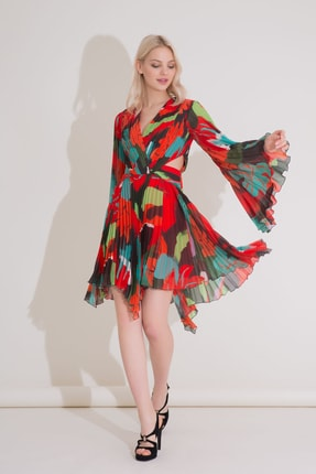 Gizia Karışık Renkli V Yaka Piliseli Mini Şifon Elbise