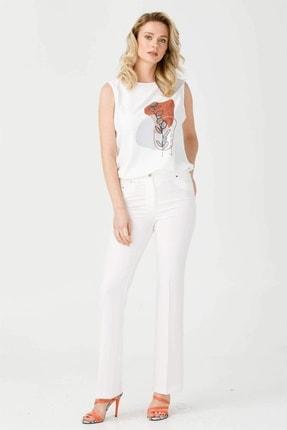 Moda İlgi Kadın Ekru Beş Cep İspanyol Paça Pantolon