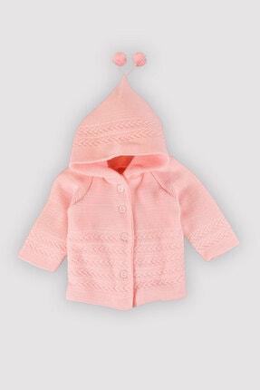 Peki Hatalı Beden Kışlık Kız -erkek Bebek Renkli Kapşonlu Ponponlu Çift Katlı %100 Akrilik Hırka 1028