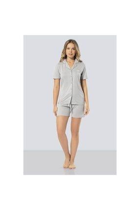 TÜREN Kadın Gri  Puanlı Şort Takım Pijama Takımı 3292