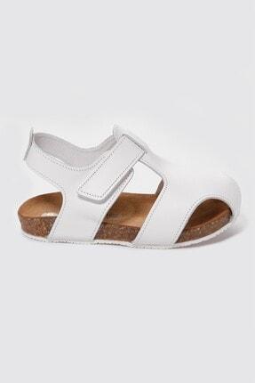 Sanbe Unisex Beyaz Deri Sandalet