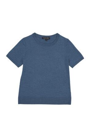 Brooks Brothers Kadın Lacivert Merinos Yünlü Triko T-Shirt