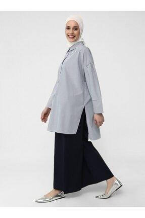 Refka Geniş Paça Beli Lastikli Pamuklu Pantolon - Lacivert - Casual