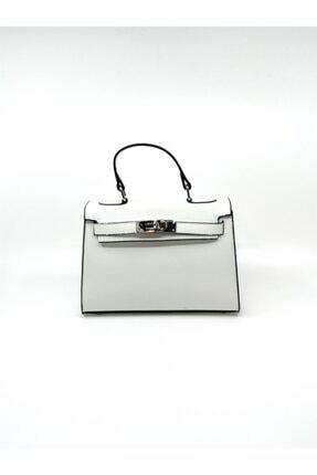 Dsn Kadın Beyaz Kilitli Çanta