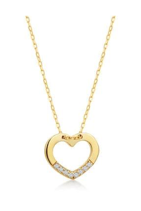 Gelin Pırlanta Gelin Diamond 14 Ayar Altın Hatları Pırlantalı Kalp Kolye