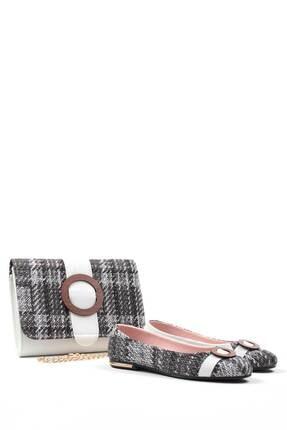 Gob London Gri-beyaz Kadın Babet Çanta Kombin 1015-111-0012_3019