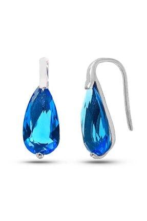 SilverPlus Kadın Mavi Taşlı Rodyumlu Gümüş Küpe
