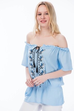 Cotton Mood 8191195 Şile Bezi Kayık Yaka Nakışlı Gipeli Bluz Mavi