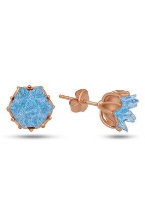 SilverPlus Kadın Mavi Renk Lotus Çiçeği Gümüş Küpe