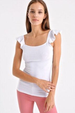 Jument Kadın Pamuk Body Kolları Volanlı Bluz - Beyaz