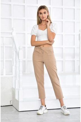 İroni Bel Lastikli Ön Cepli Pamuk Bej Pantolon
