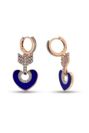 SilverPlus Kadın Mavi Mineli Zirkon Taşlı Kalpli Gümüş Küpe