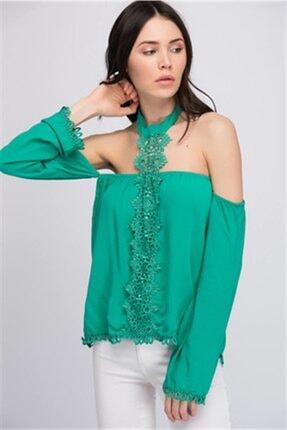 Cotton Mood 8161171 Şile Bezi Güpürlü Boğazı Bantlı Düşük Omuz Bluz Yesıl