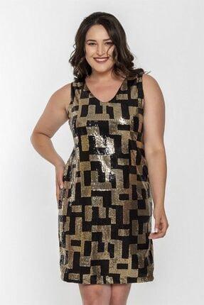 Seamoda V Yaka Kolsuz Pul Işleme Elbise-siyah Gold