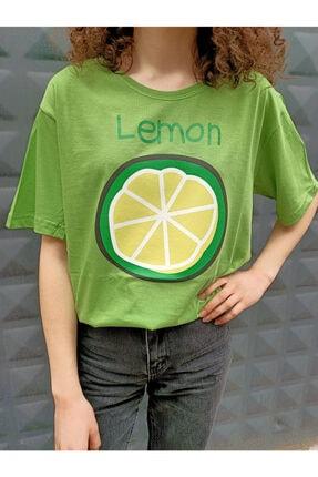 Köstebek Unisex Yeşil Yarım Limon T Shirt