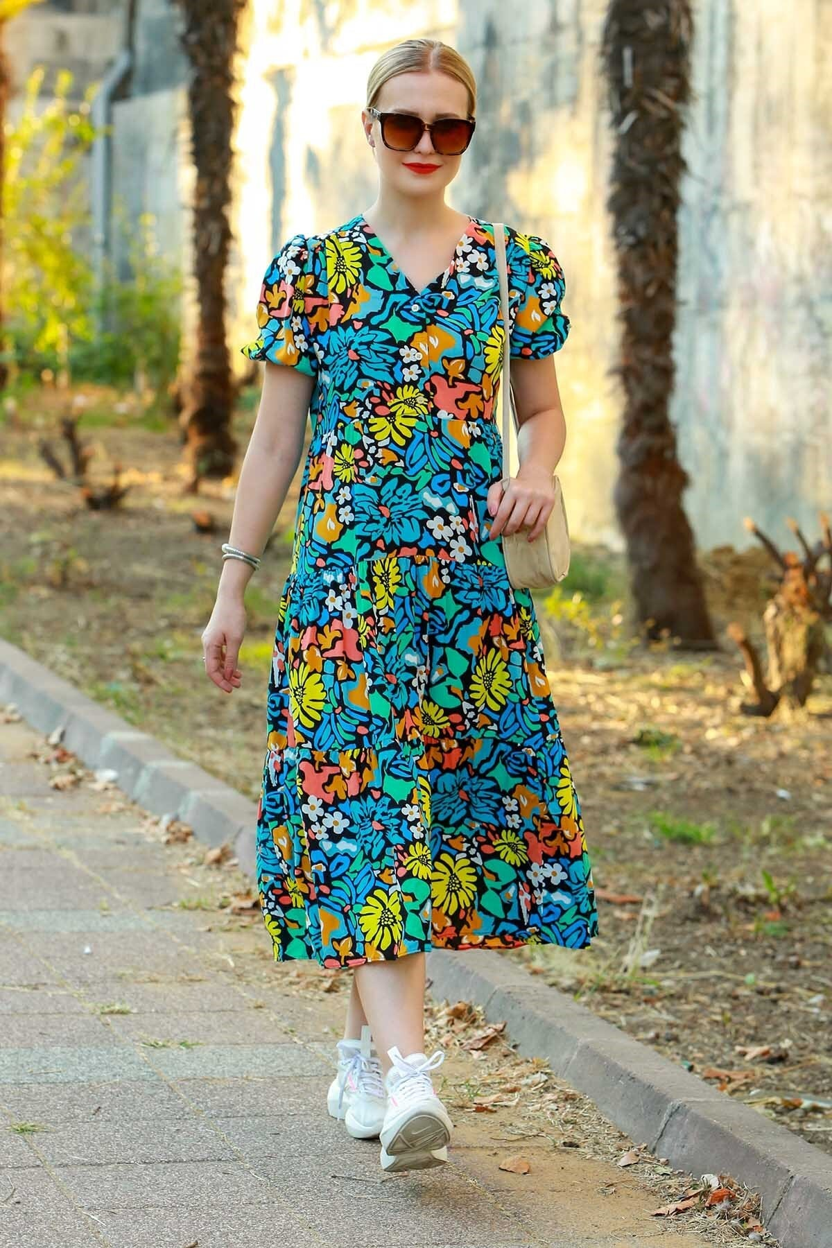 Madmext Mad Girls Mavi Çiçekli Midi Boy Elbise MG595