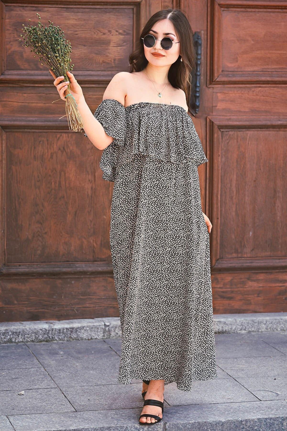 Madmext Mad Girls Siyah Straplez Salaş Elbise MG3550