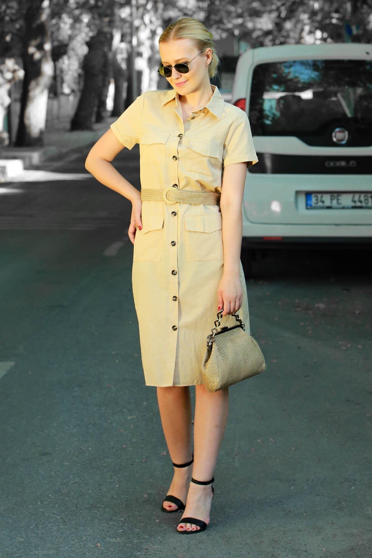 Madmext Mad Girls Bej Kemerli Gömlek Yakalı Düğmeli Elbise MG576