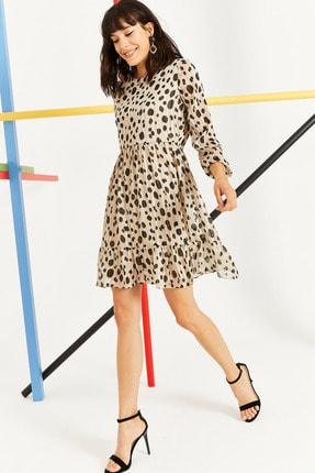 Lafaba Kadın Bej Yazlık Kısa Şifon Elbise  20Y012813