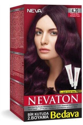 Neva Ton Saç Boyası Seti 4.20 Patlıcan Moru