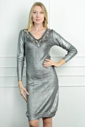Herry Kadın Gümüş Yakası İşlemeli Elbise 20dt267