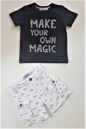 Nk Kids Erkek  Çocuk  Siyah-Beyaz  Yazlık T shirt  Şort Takımı