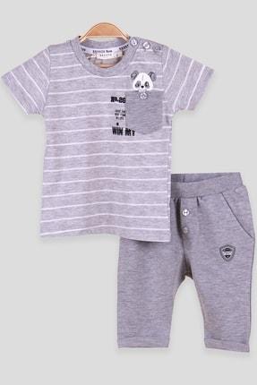 Breeze Erkek Bebek Eşofman Takımı Cebinde Panda Baskılı Gri (6 Ay-2 Yaş)