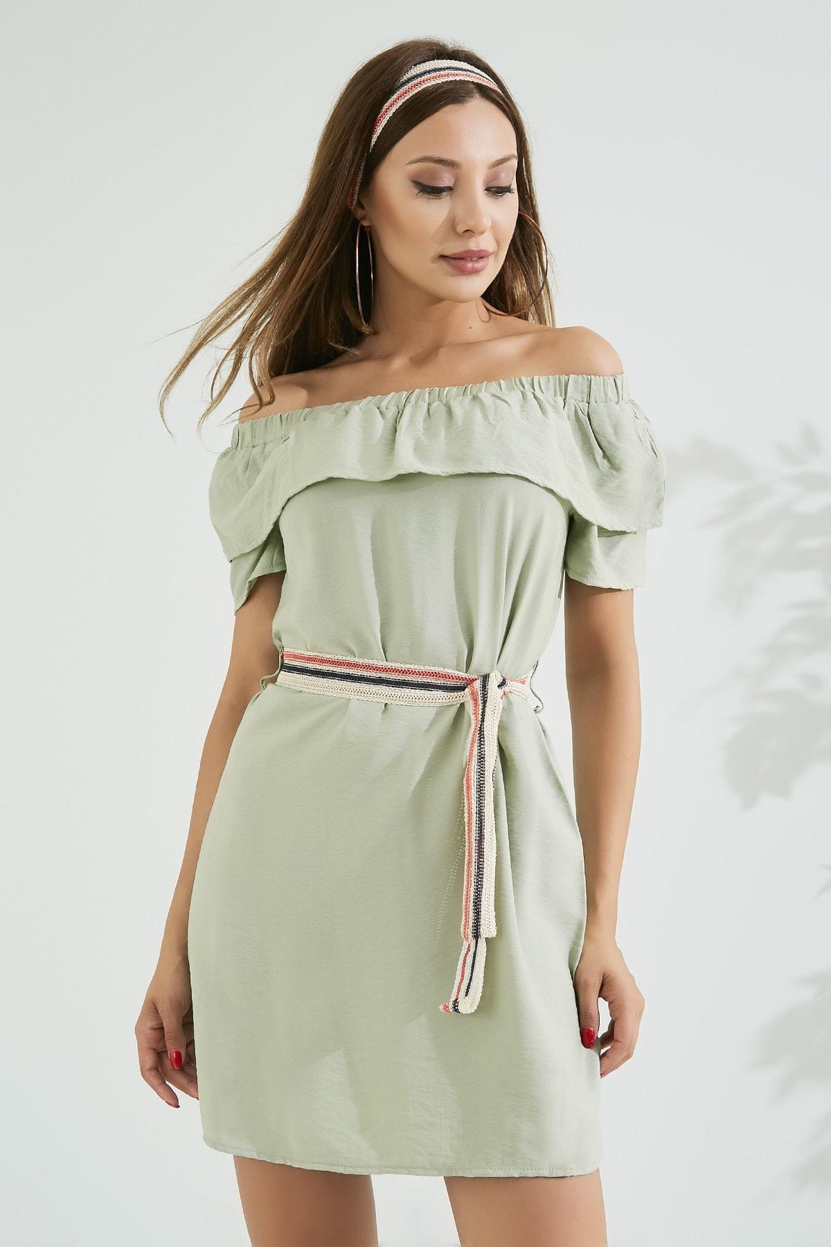 Sateen Kadın Haki Volanlı Örgü Kemerli Elbise  STN562KEL116