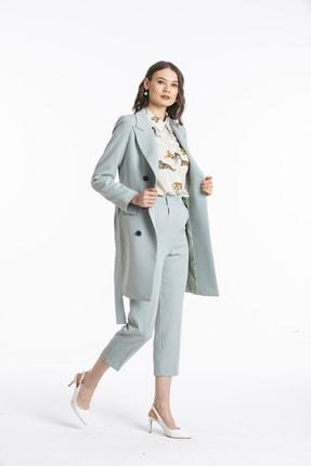 Pitti Kadın Mint Siyah Düğmeli Uzun Ceket 60379