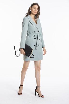 Pitti Kadın Mint Siyah Düğmeli Uzun Ceket 60379 A