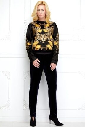 Faberlic Siyah Uzun Kol Desenli Sweatshirt 36 Beden