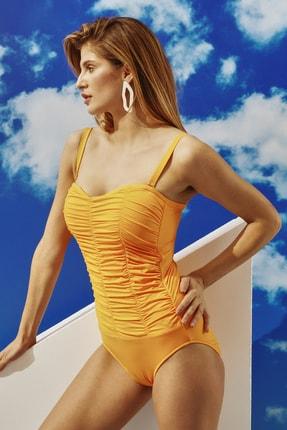 BONESTA Kadın Turuncu Büzgülü Straplez Mayo