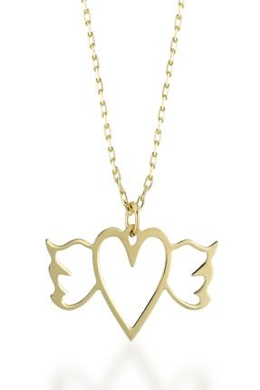Gelin Pırlanta Diamond 14 Ayar Altın Melek Kanadı Kalp Kolye