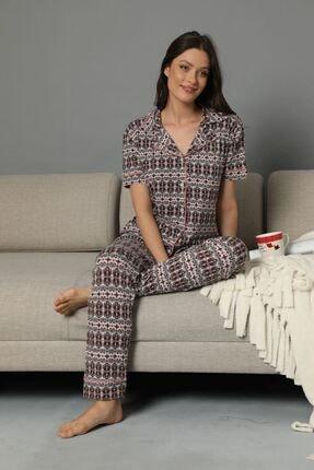 Siyah İnci Kısa Kollu Viskon Düğmeli Biyeli Pijama Takım