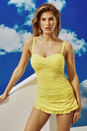 BONESTA Kadın Sarı Straplez Kaplı Etekli Mayo