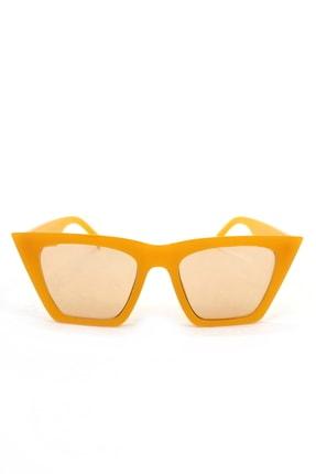 Hane14 Designer Cat Eye Köşeli Bayan Güneş Gözlüğü Aynalı Sarı