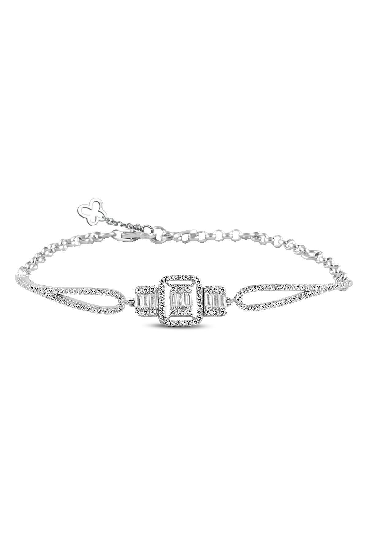 Söğütlü Silver Gümüş  Rodyumlu Baget Taşlı Bilezik