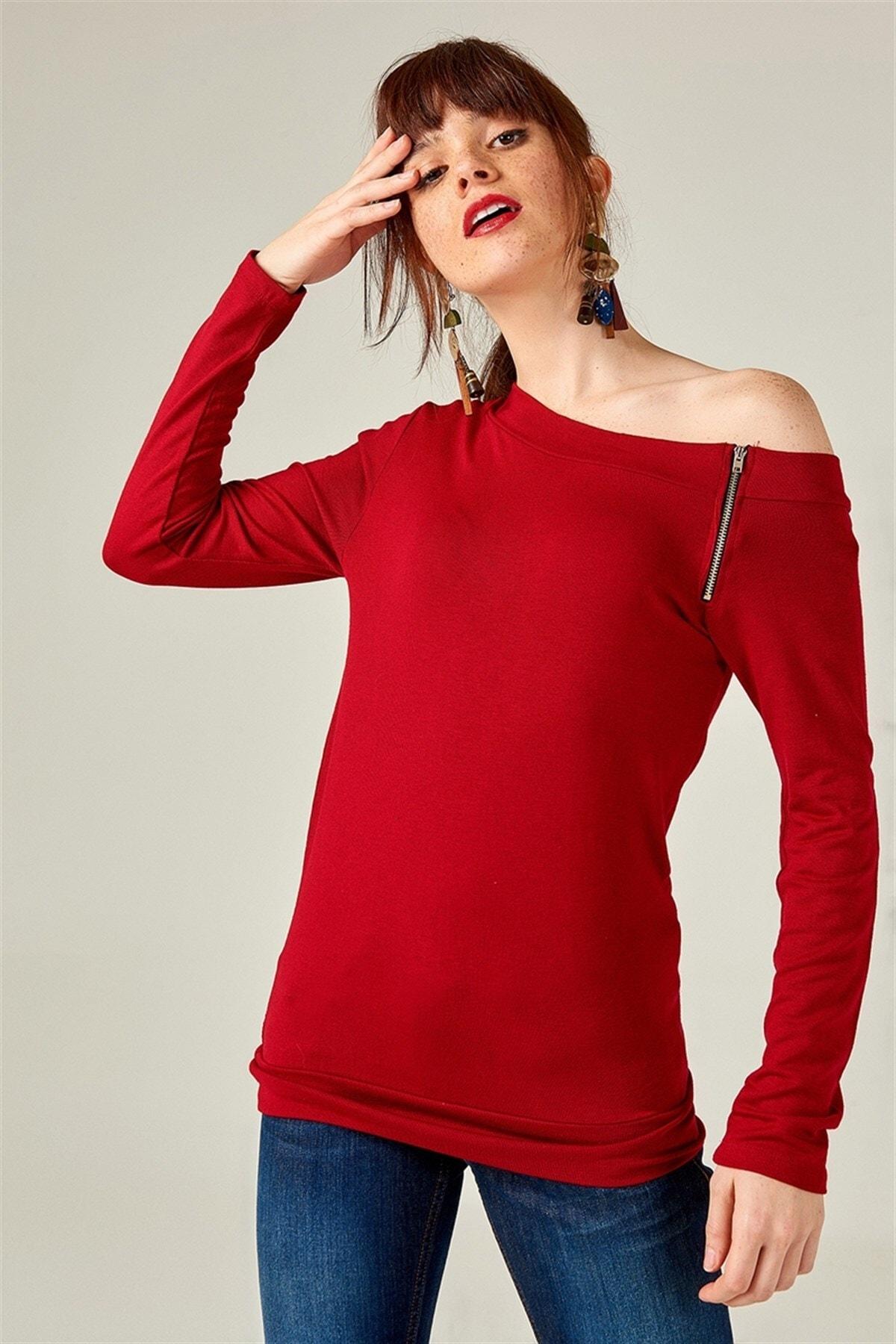 Boutiquen Kadın Bordo Fermuar Detaylı Bluz 10497