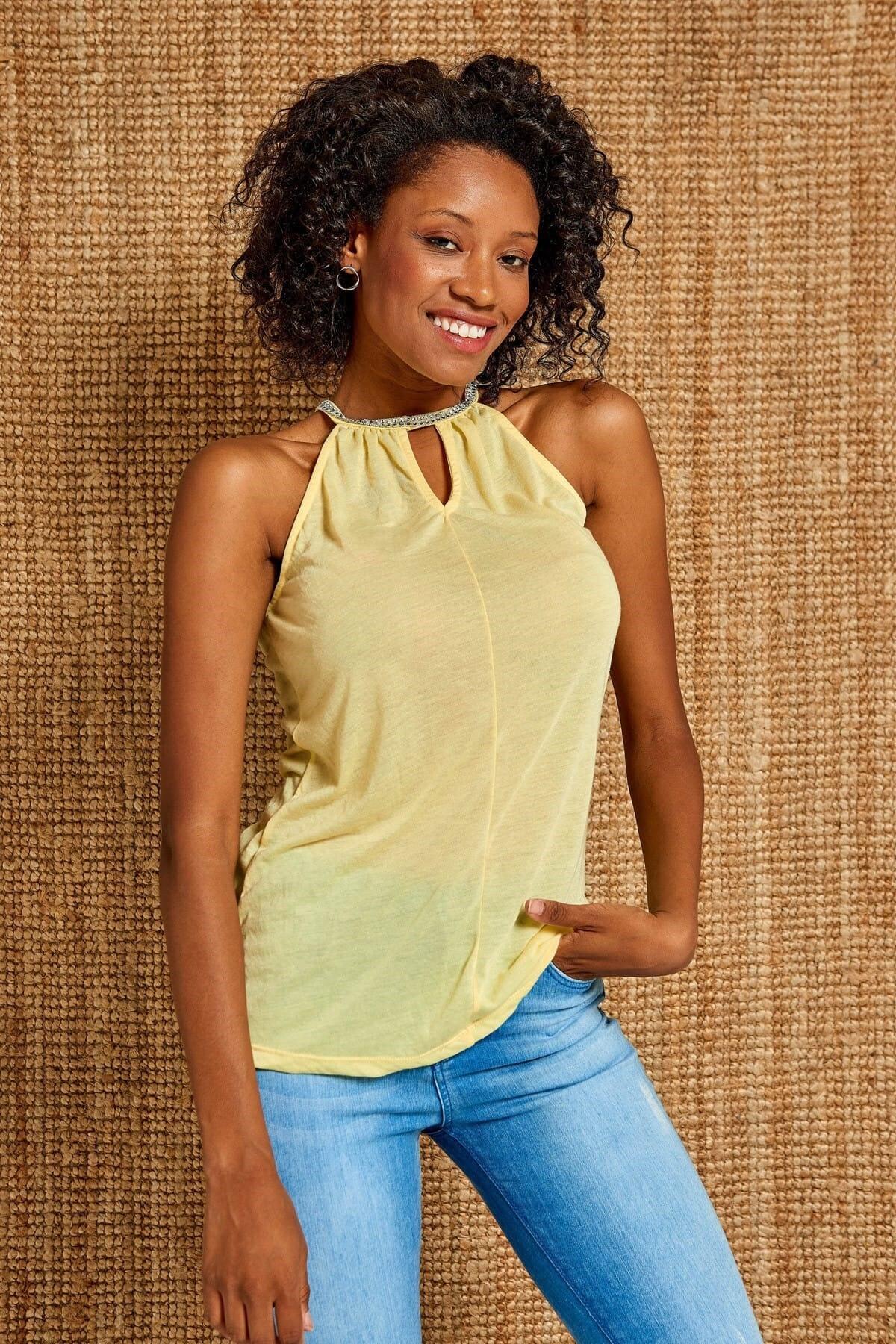 Boutiquen Kadın Sarı Taşlı Askılı Bluz JT-070201
