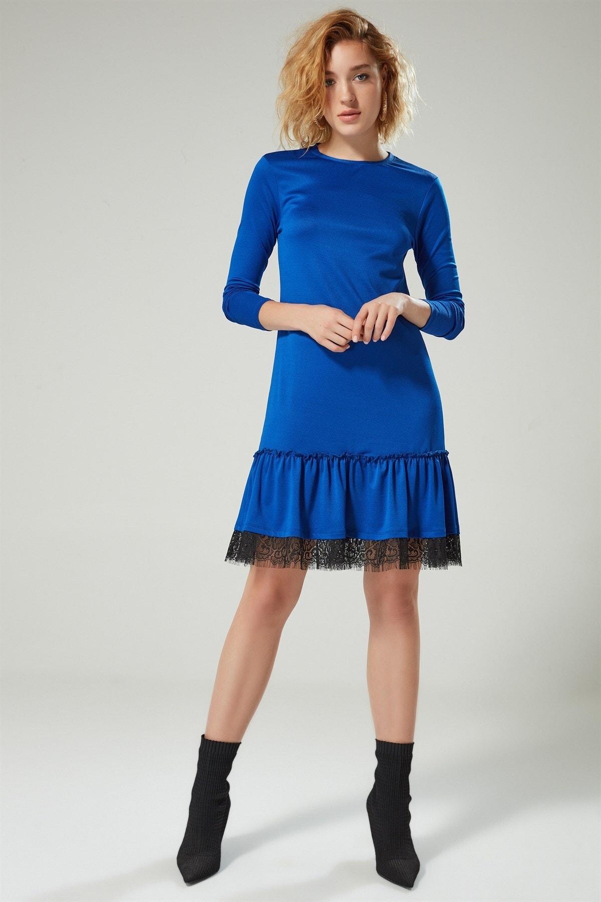 Boutiquen Kadın Saks Mavisi Eteği Büzgülü Dantel Detaylı Elbise 2151