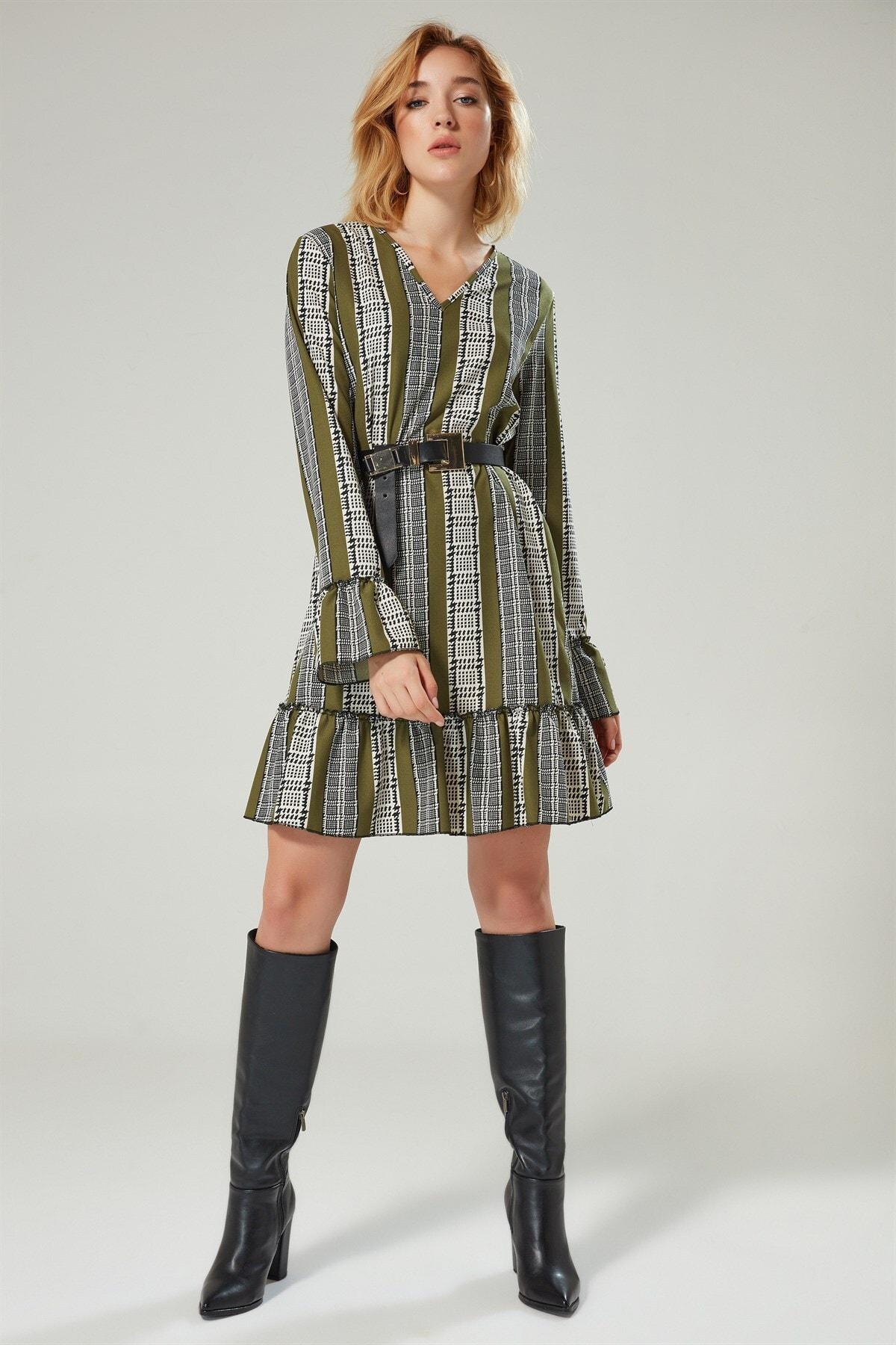 Boutiquen Kadın Açık Yeşil V Yaka Desenli Elbise 2150