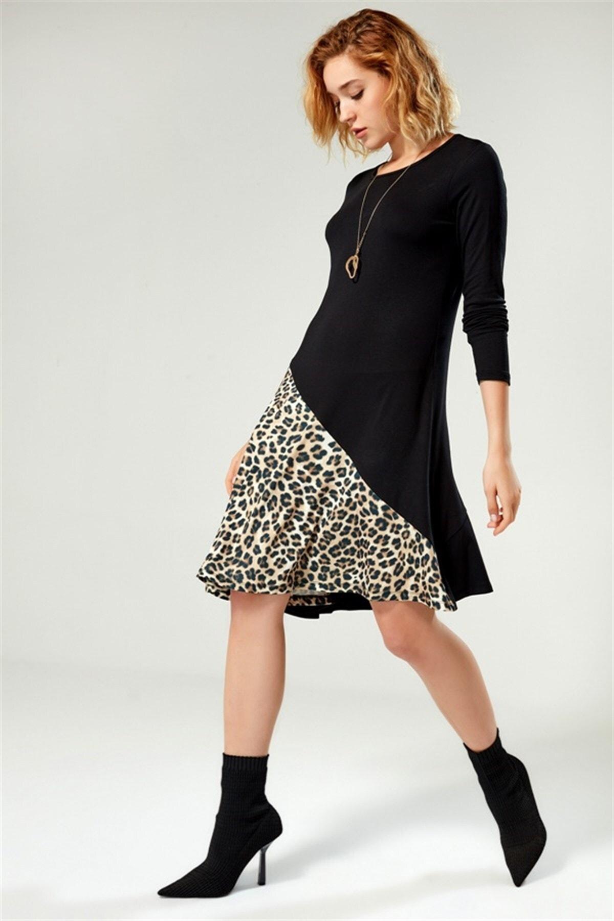 Boutiquen Kadın Siyah Eteği Leopar Desen Garnili Elbise 2157