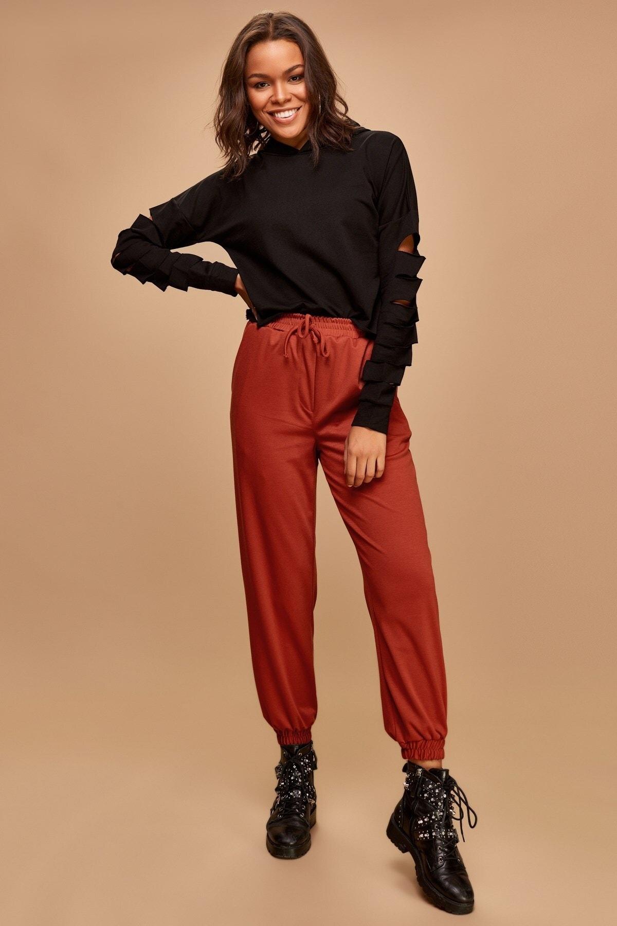 Boutiquen Kadın Kiremit Bilekleri Lastikli Cepli Pantolon 5025