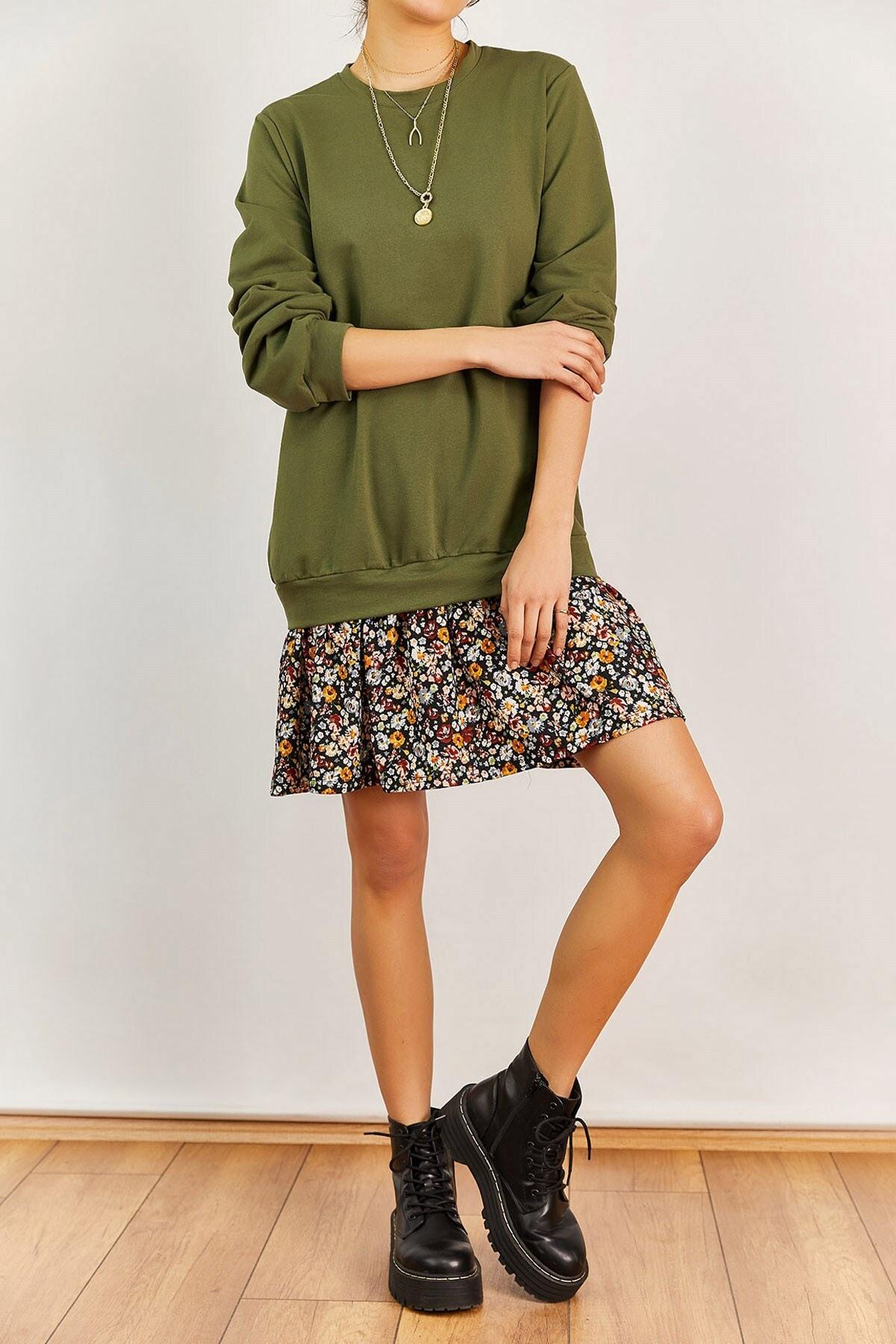 Boutiquen Kadın Haki Altı Çiçek Desenli Elbise 2208